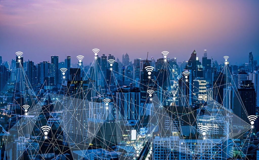 Wifi and 5G digital network Concept.Smart city and communication